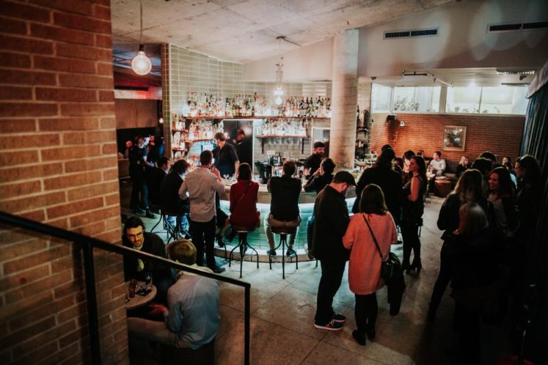 Garage speakeasy bar interior in downtown austin texas