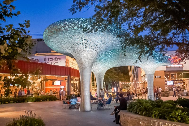street scene at the Domains Rock Rose shopping and dining area in northwest austin texas