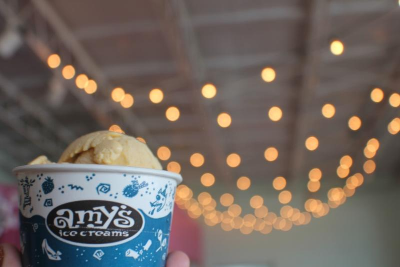 cup of seasonal pumpkin ice cream from Amy's Ice Creams.in austin texas