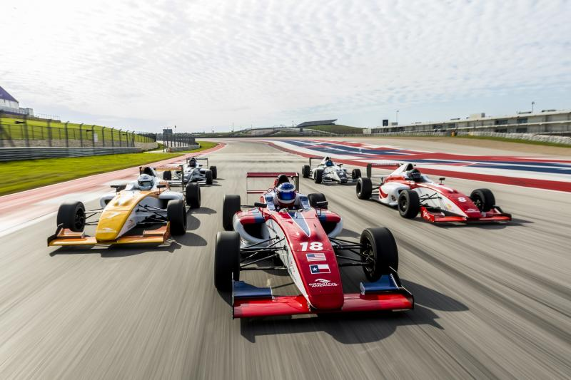 Formula 1 drivers in action on the track at Circuit of The Americas in austin texas