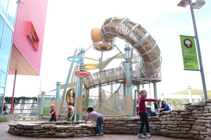 Kids on Playground at the Thinkery in the winter