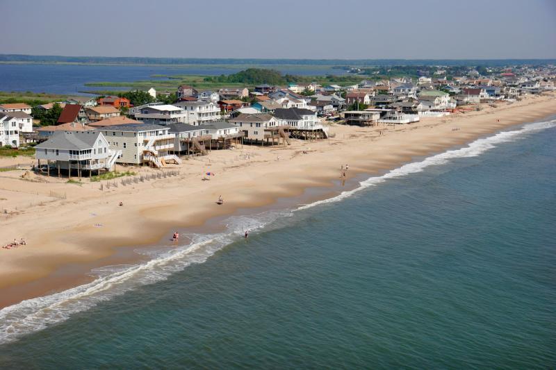 VA, Virginia Beach, Sandbridge Beach, Atlantic Ocean, shore, oceanfront homes, cottages, aerial,