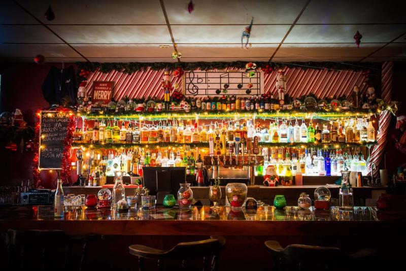 Bar decked out in Christmas decor at Lalas Little Nugget