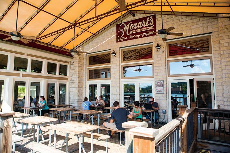 Mozarts coffee patio on Lake Austin