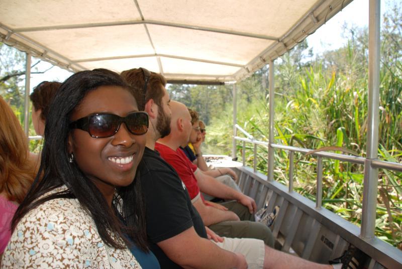 Tourists enjoying Louisiana Northshore Swamp Tour