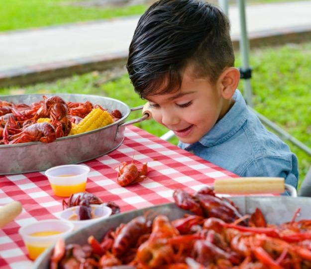 Kid with crawfish