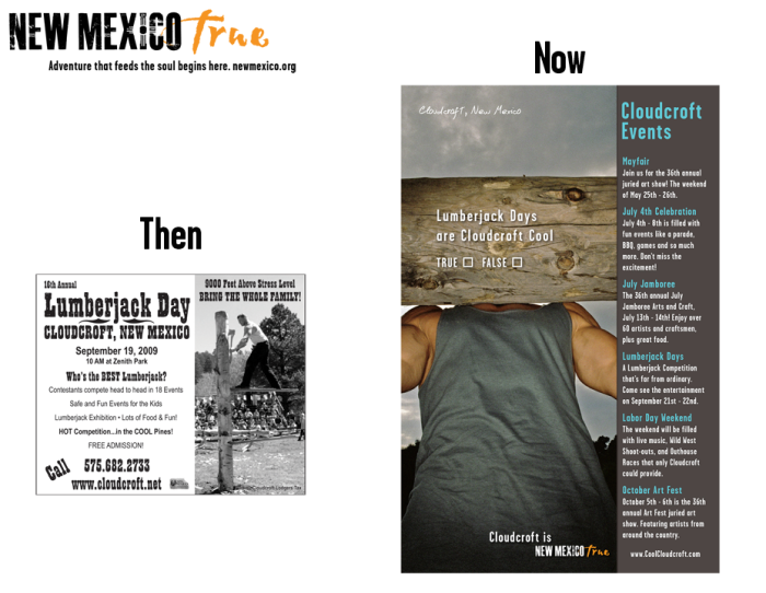 NM True Community Ads: Then and Now Cloudcroft