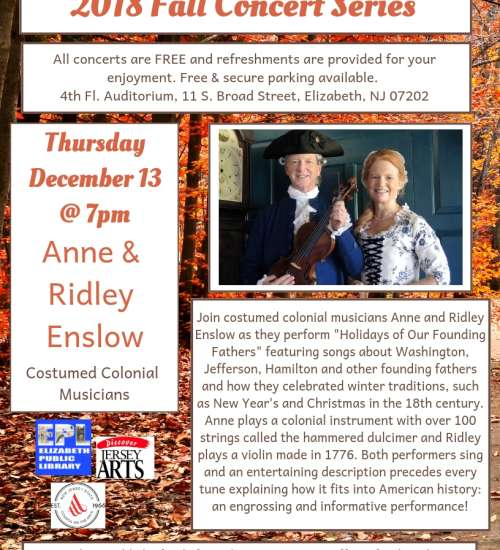 2018 Fall Concert Series--Anne & Ridley Enslow--Costumed Colonial Musicians