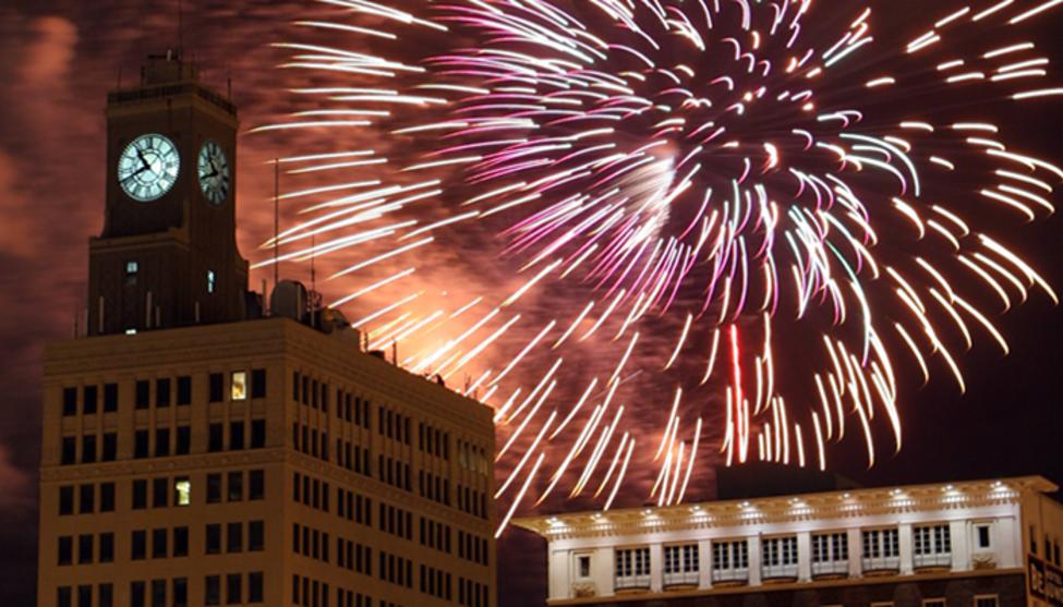 Beaumont's Clock Tower in Fireworks