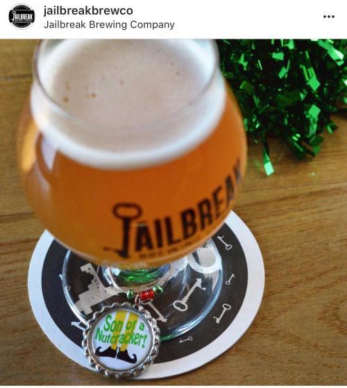Seasonal glass of Jailbreak Brewing Company Beer