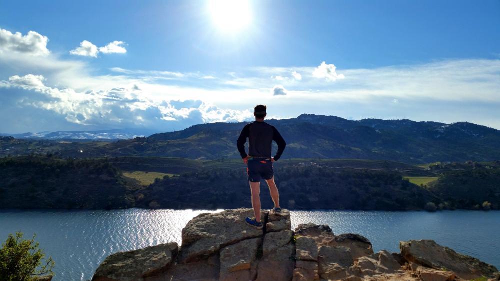 Man overlooking Horsetooth Reservior, Fort Collins