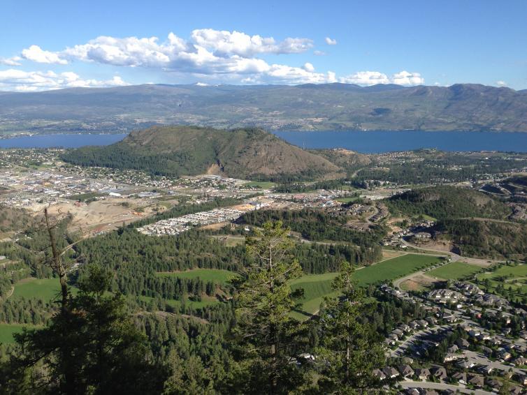 Carrot Mountain Bluffs hike view, facing Mount Boucherie