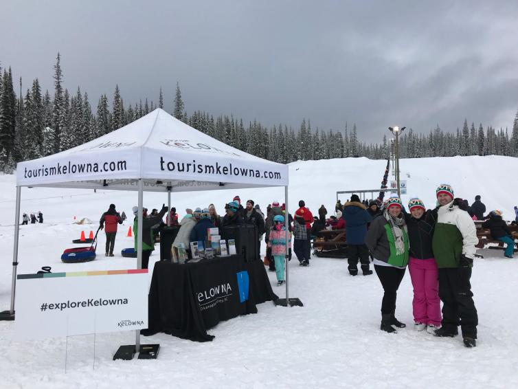 Photo of Tourism Kelowna Team at Big White for the Olympic Sendoff Event