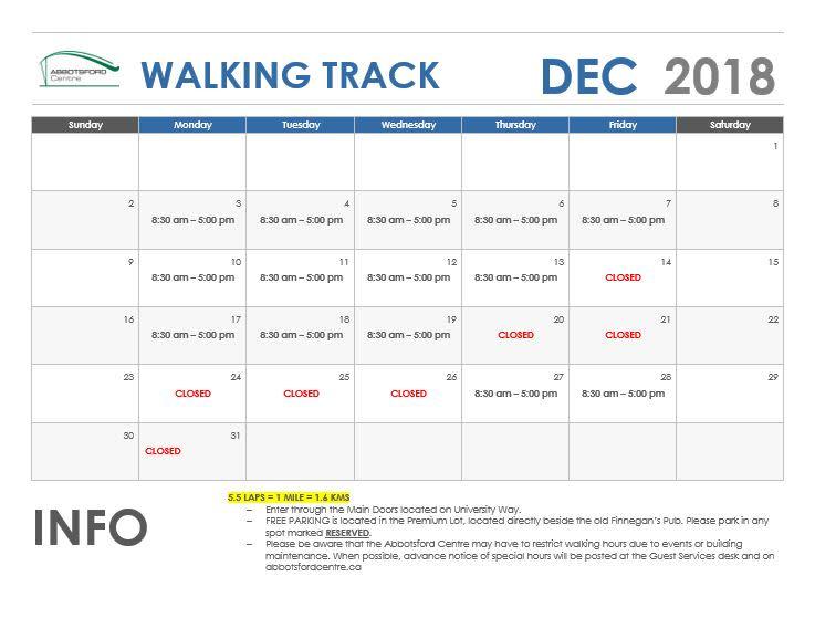December Walking Track Schedule