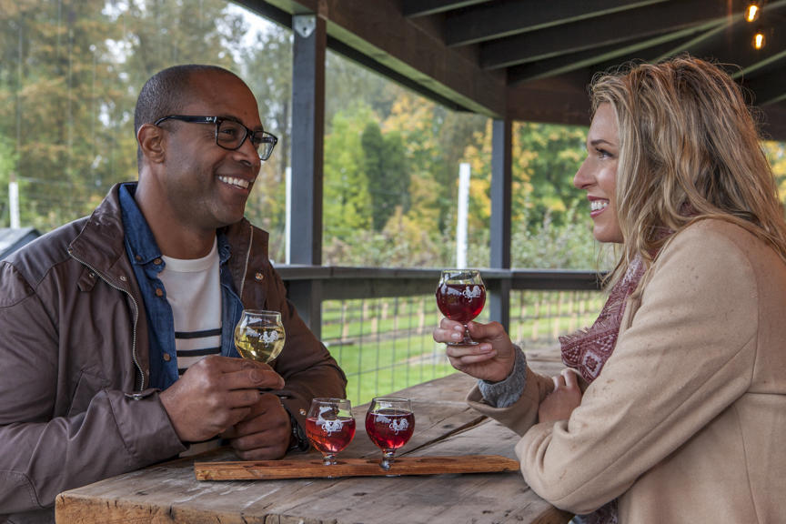 Man and Woman Drinking Cider in Puyallup, Washington