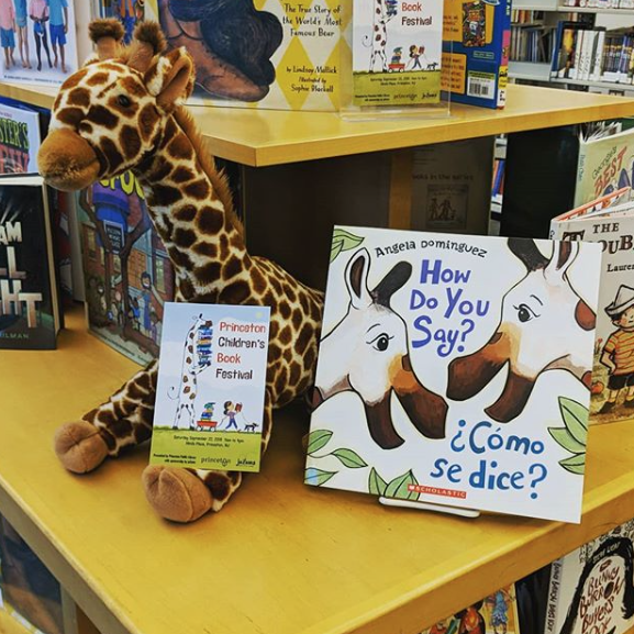 Princeton Public Library stuffed animal and book display