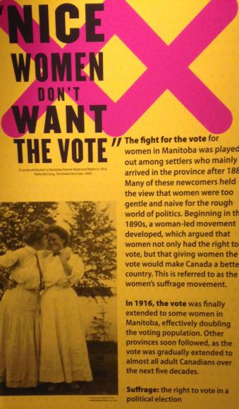 Manitoba Museum's Right to Vote display