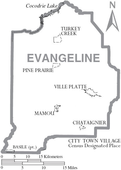Map of Evangeline Parish, with municipal labels