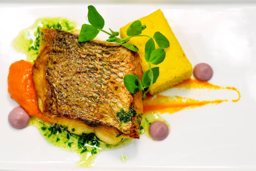 Pan Seared Snapper with Crispy Polenta