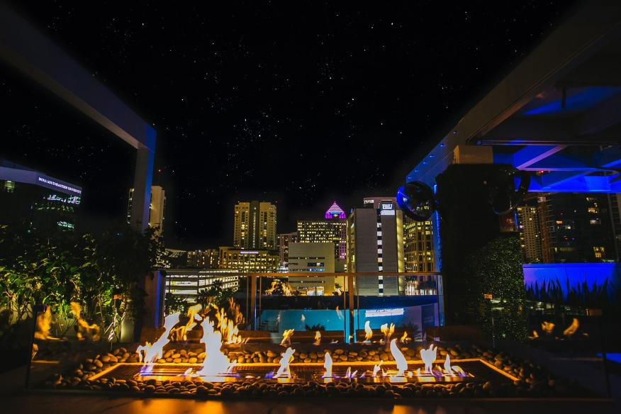 rooftop night time scene