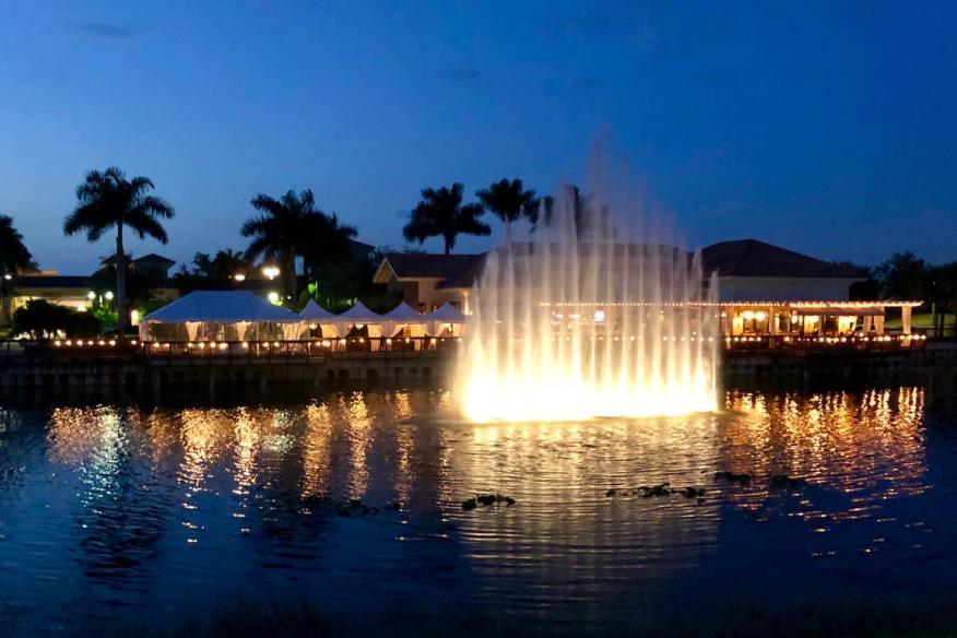 Déjà Blue Restaurants - Evening Fountain