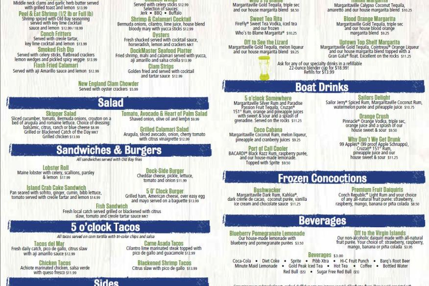 5 o'Clock Somewhere Bar & Grill - Main Food Menu