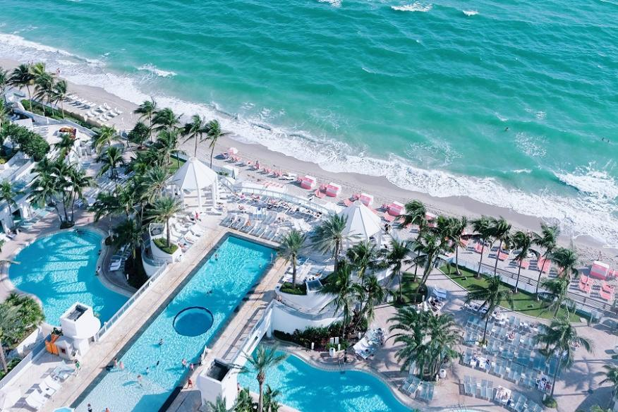 Beach and Pool Aerial View
