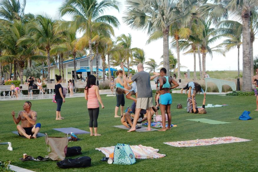 Yoga daily at the beach