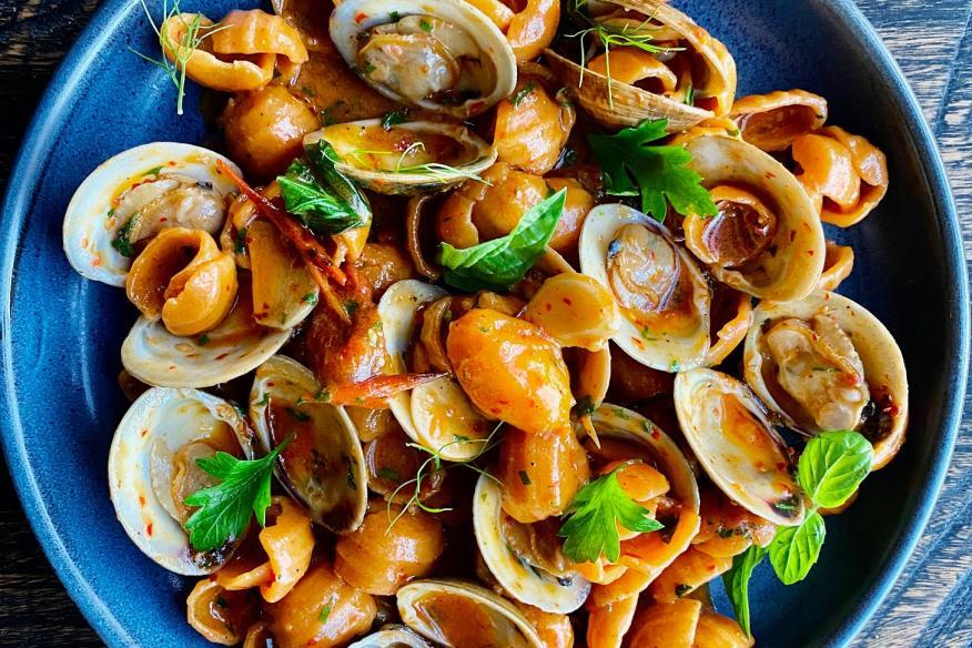 Calabria orecchiette, clams, Nduja