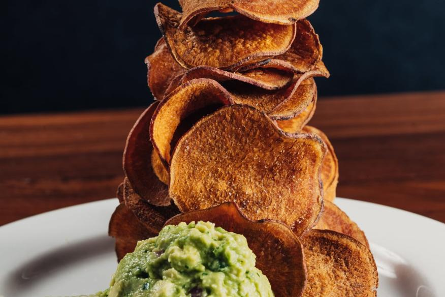 Guacamole with sweet potato chips