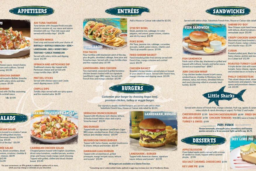 LandShark Bar & Grill - Food Menu