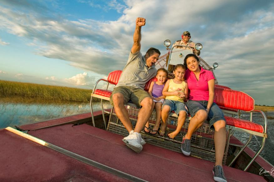 Family on Airboat