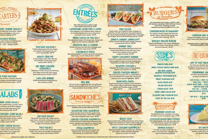 Margaritaville Restaurant - Main Lunch/Dinner Menu