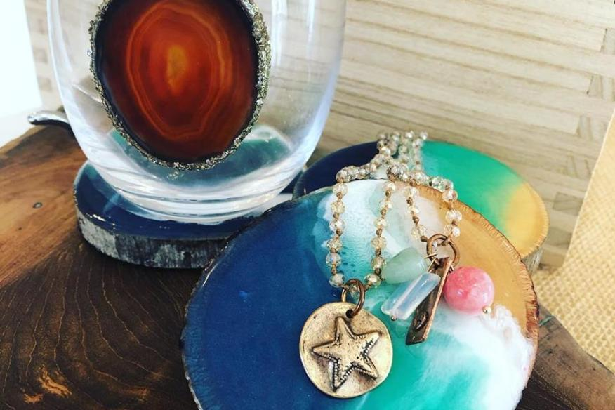 Starfish Pendant and Geodes