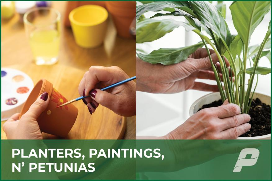Planters, Paintings, N' Petunias