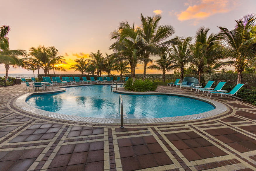 Pool ocean front sunrise