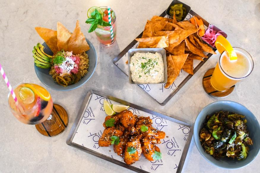 Tuna Poke, Smoked Fish Dip, Crispy Brussel Sprouts and Korean Wings