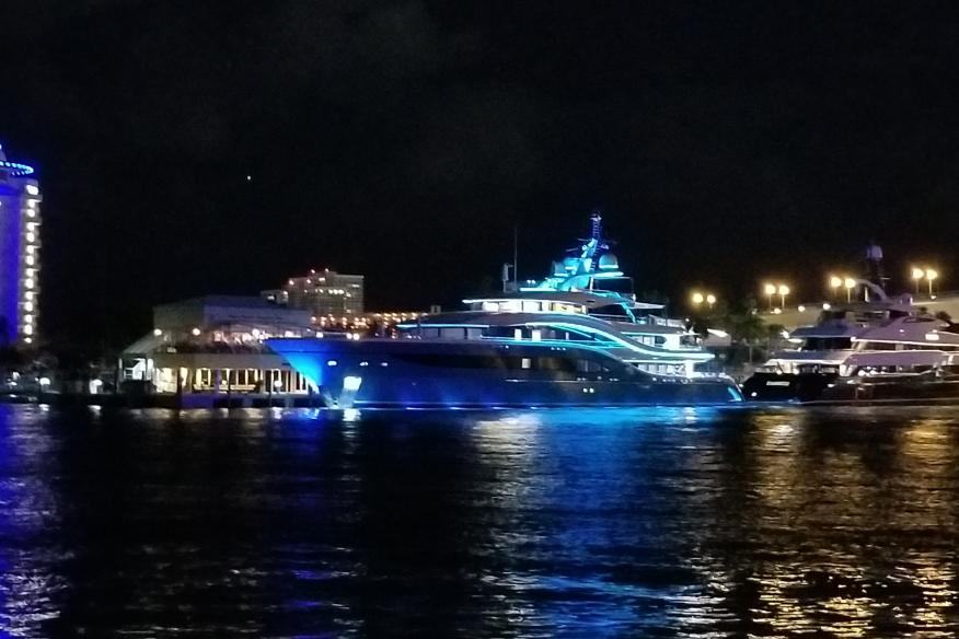 Beautiful Yacht on the Waterway at night