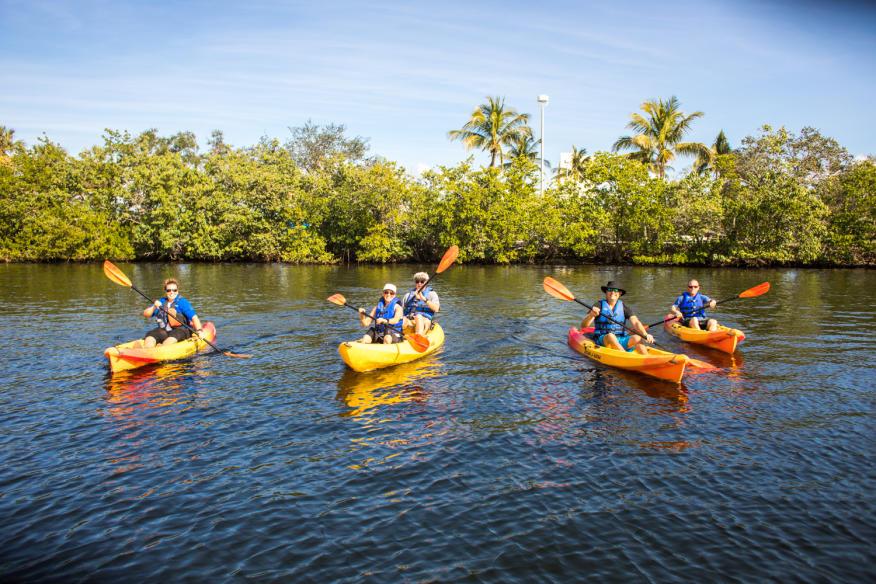 four kayaks