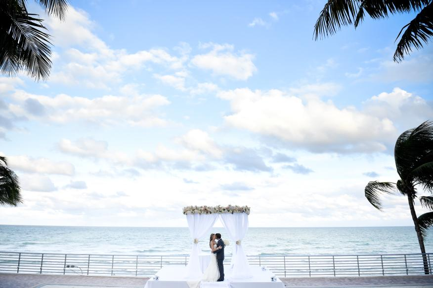Bride & Groom with Beach Background