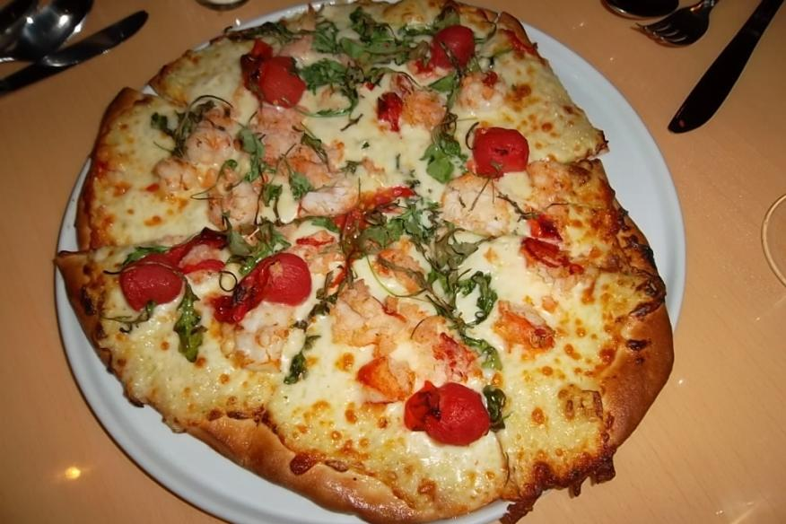 Lobster & Shrimp Flatbread at the Riverside Indigo Restaurant