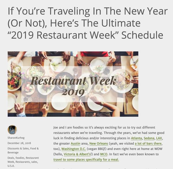YMMV - 2019 Restaurant Weeks