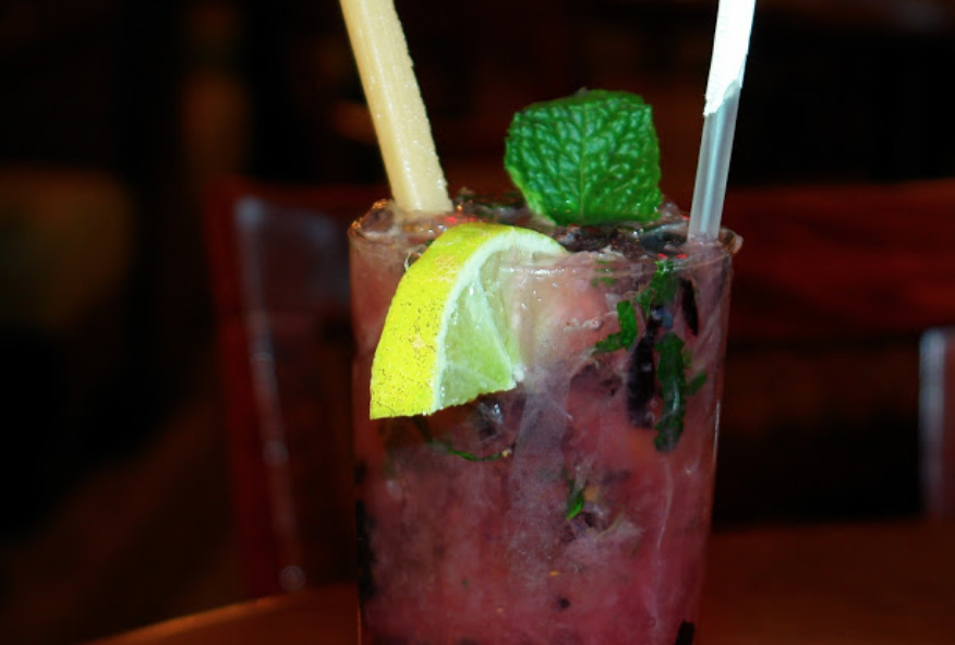 Cocktail from Centro Grille with mint leaf and lemon wedge