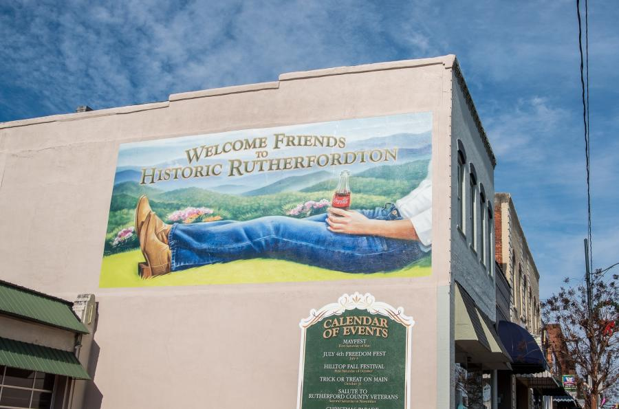 Welcome to Rutherfordton Classic Coca-Cola Mural