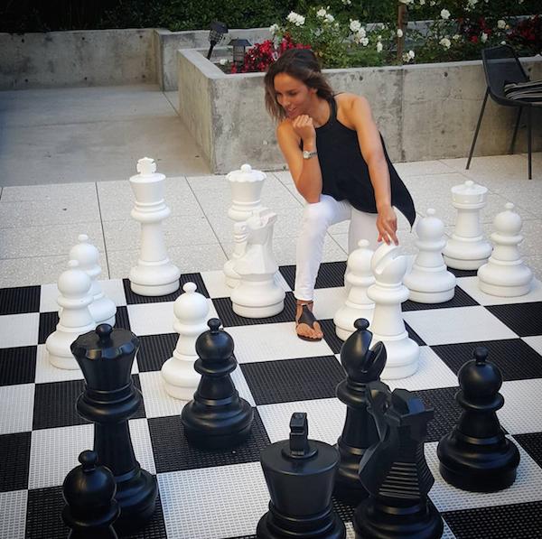 Playing an XL version of chess at the Kimpton Shorebreak Hotel