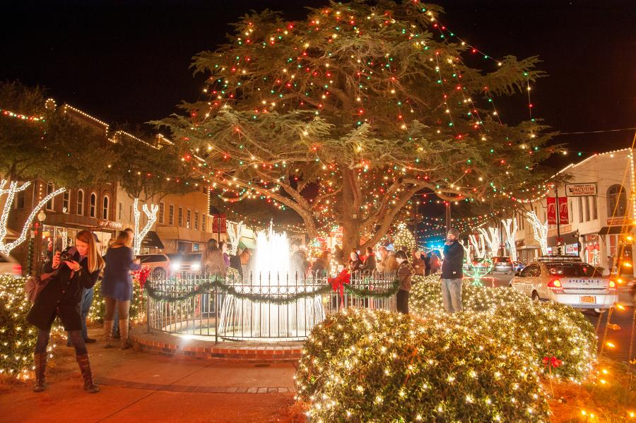 Holiday lights in Forest City by fountain