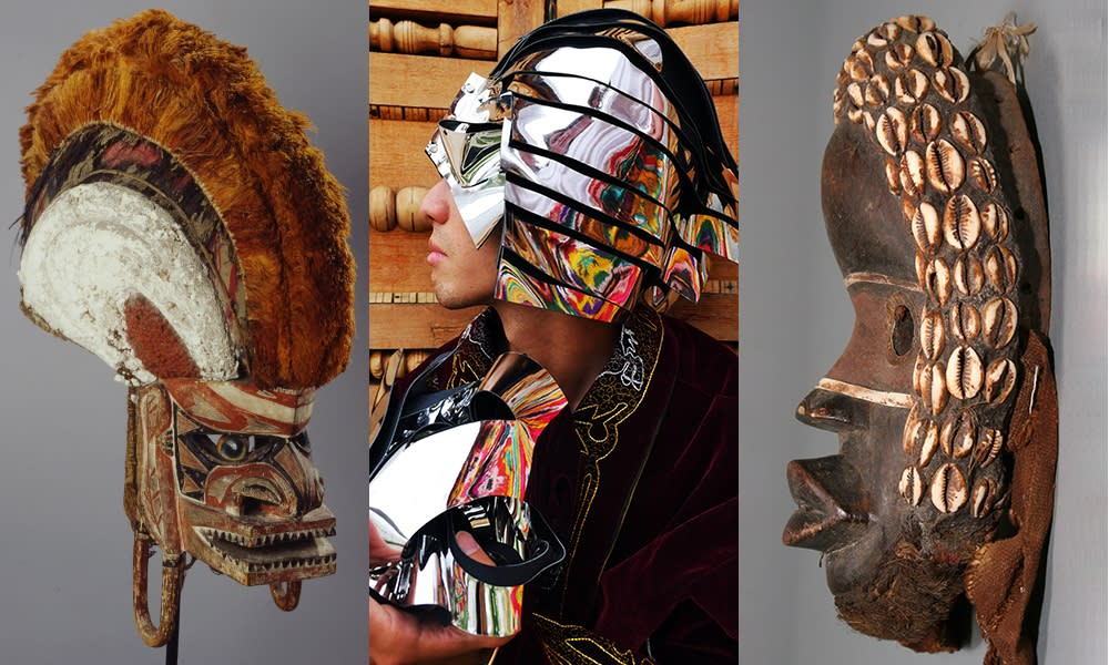 Left: Mask (Tatanua), 19th-20th century Middle: Marisa Morán Jahn, The Sacrifice, 2018 Right: Poro Society Mask, 20th century