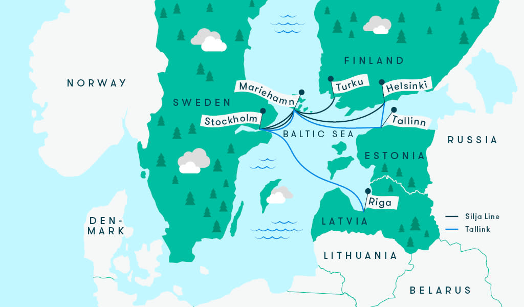 Tallink/Silja Line map