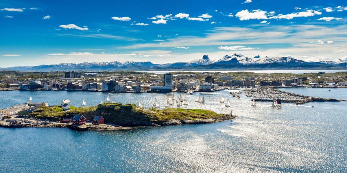 The city of Bodø on a sunny summer day