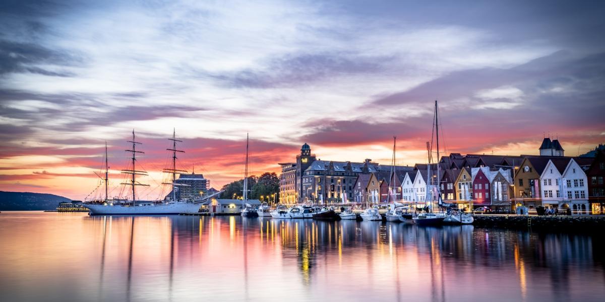 The UNESCO world heritage site Bryggen in Bergen, Fjord Norway
